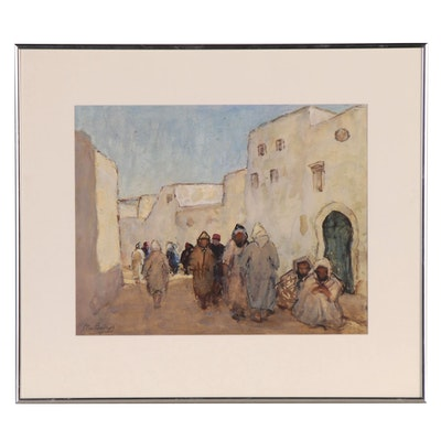 Maude Burge Watercolor Painting of an Arab Street Scene, Early-Mid 20th Century
