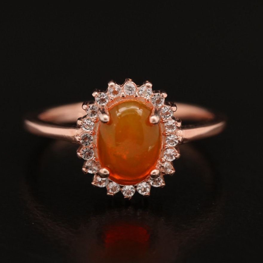 Sterling Opal and White Spinel Ring
