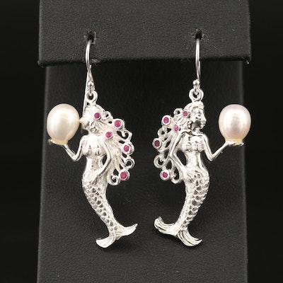 Sterling Pearl and Ruby Mermaid Earrings