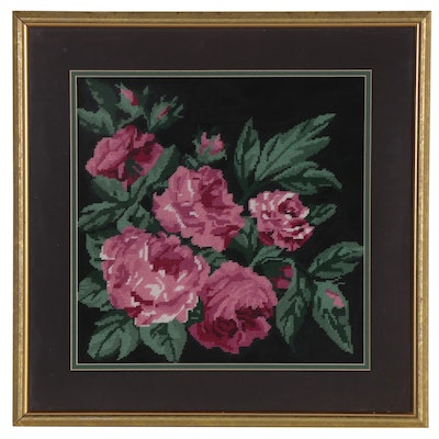 Hand-Stitched and Framed Needlepoint of Roses, Late 20th Century