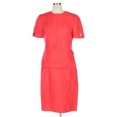 Bill Blass Linen Skirt Suit in Coral Pink