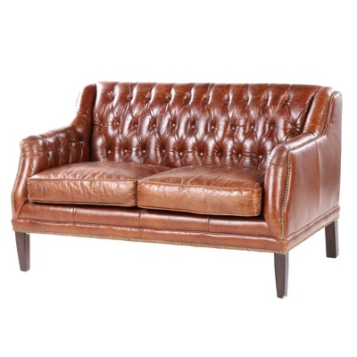 Button Tufted Cognac Leather Loveseat with Nailhead Trim