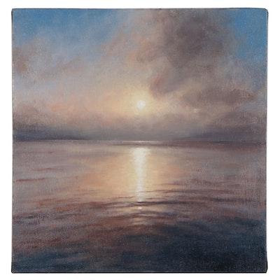 """Sunrise Seascape Oil Painting """"Pallette II"""", 2015"""