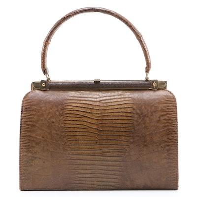 Bellestone Brown Lizard Skin Leather Handbag, Mid-20th Century