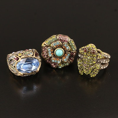 Heidi Daus Faux Turquoise and Rhinestone Cocktail Rings