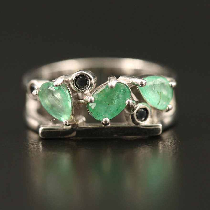 Sterling Silver Emerald and Spinel Ring