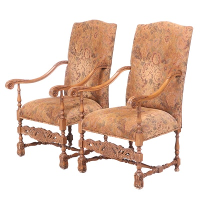 Pair of Baroque Style Beech Armchairs, 20th Century