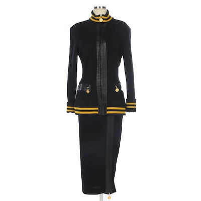 Donna Karan New York Knit Skirt Suit with Leather Trim