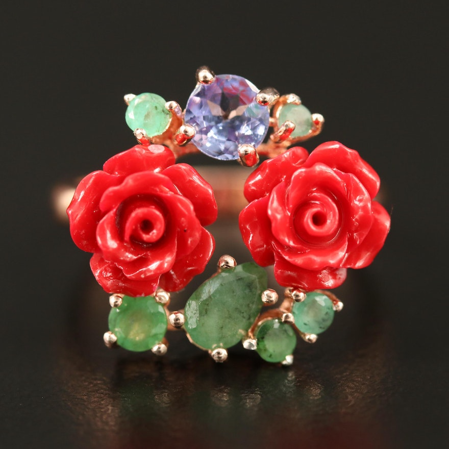 Sterling Silver Imitation Coral, Emerald and Tanzanite Rose Motif Ring