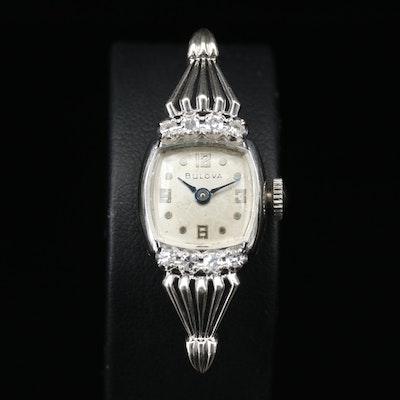 14K and Diamond Bulova Stem Wind Wristwatch