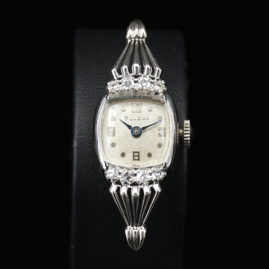 14K and Diamond Bulova Stem Wind Wristwatch