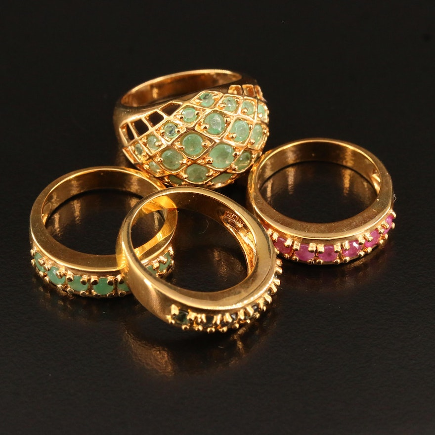 Sterling Silver Emerald, Ruby and Sapphire Rings