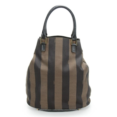 Fendi Bucket Bag in Pequin Canvas and Leather