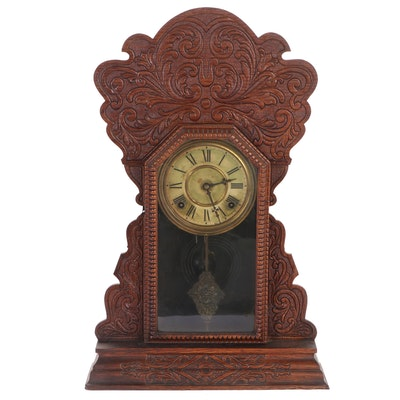 Welch Victorian Pressed Oak Shelf Clock, Late 19th Century