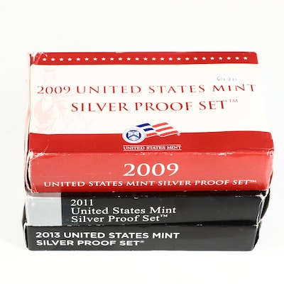 Three U.S. Mint Silver Proof Sets, 2009 to 2013
