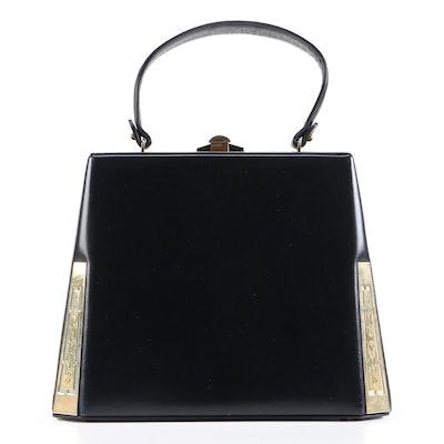 Prestige Destination Handbag in Midnight Blue Leather, 1960s Vintage