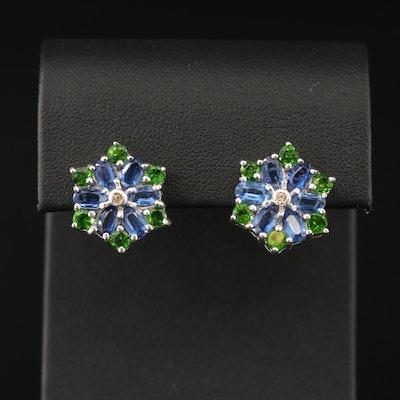 Sterling Kyanite, Diopside and Sapphire Flower Motif Earrings