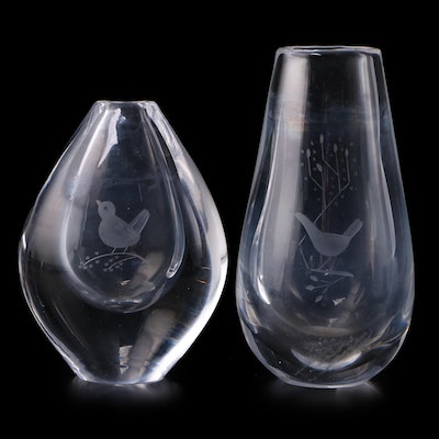 Etched Bird Motif Crystal Bud Vases