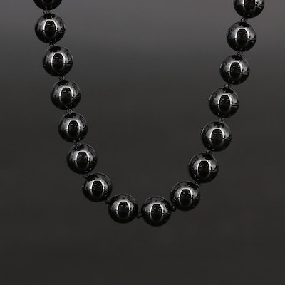 Hand Knotted Black Onyx Strand Necklace with 14K Clasp