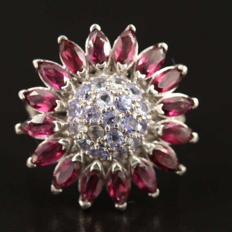 Sterling Silver Garnet and Tanzanite Flower Motif Ring