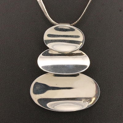 Sterling Silver Pendant Necklace and Brooch Featuring Joseph Esposito