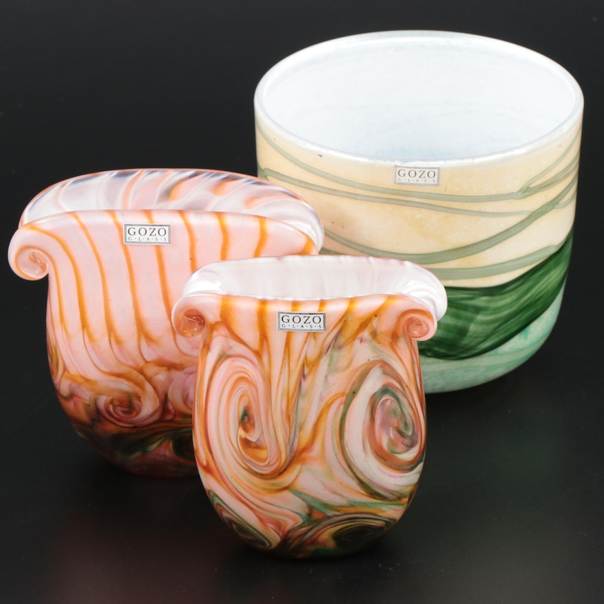"Gozo Art Glass Pink Scroll Vases and ""Springtime"" Vase"
