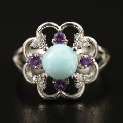 Sterling Silver Larimar, Amethyst and Cubic Zirconia Ring