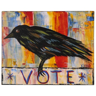 "Keno Contemporary Folk Art Acrylic Painting ""Crow"", 2020"