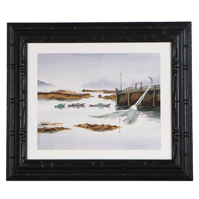 "Frederica Marshall Watercolor Painting ""Herring Boats, Stonington Harbor in Fog"""