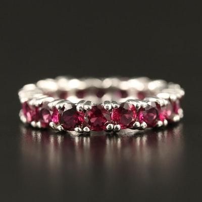 Sterling Silver Garnet Eternity Ring