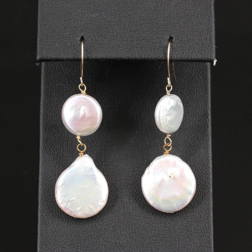 14K Button Pearl Dangle Earrings