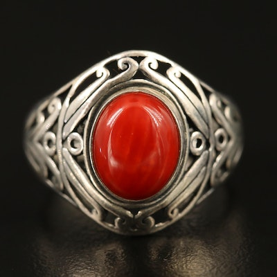 Sterling Silver Coral Ring with Openwork Detail