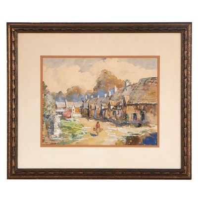 Ernest Cramer Watercolor Painting of Rural Village Street, Mid-20th Century