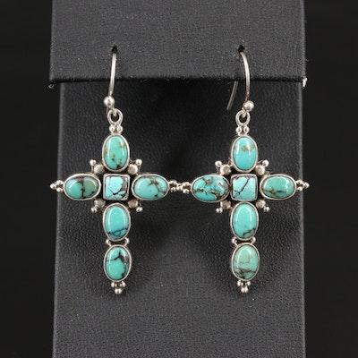 Sterling Silver Turquoise Cross Dangle Earrings