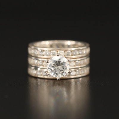 Sterling Cubic Zirconia Ring and Eternity Bands