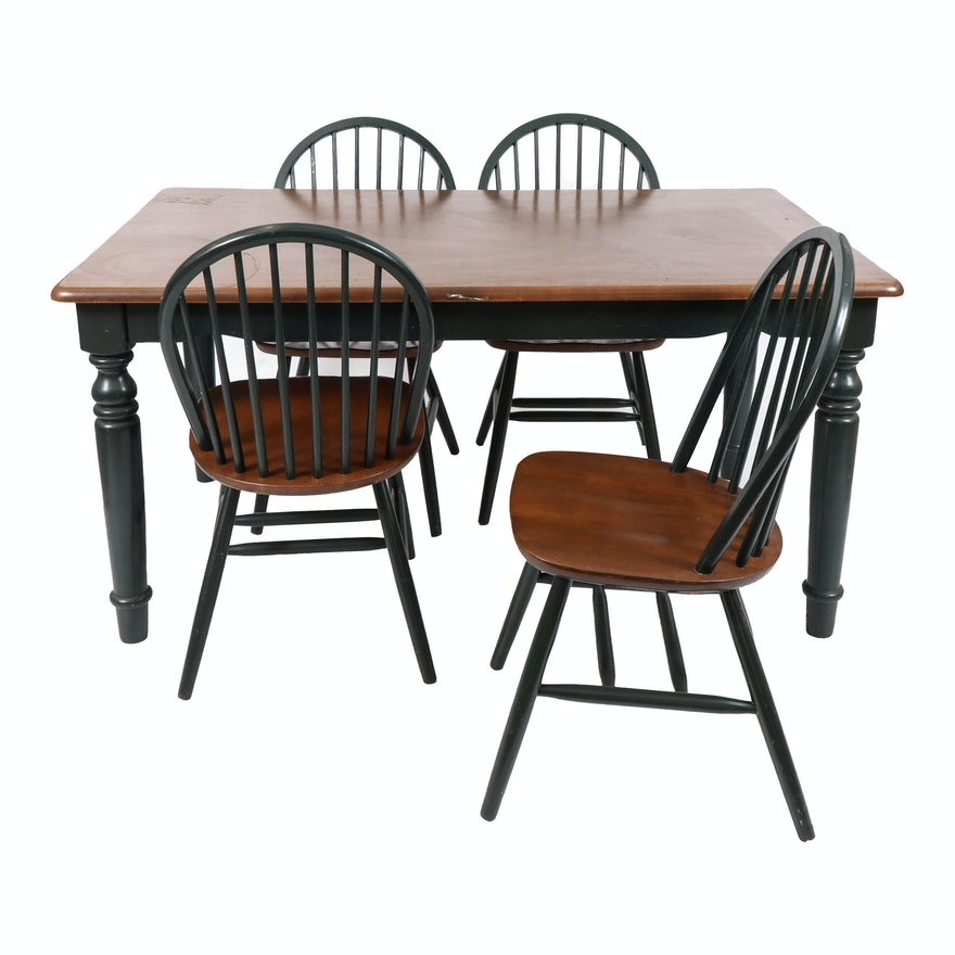 Hunter Green and Walnut Veneer Farmhouse Style Dining Table with Windsor Chairs