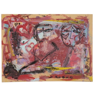 Patrice Varano Abstract Acrylic Painting, 21st Century