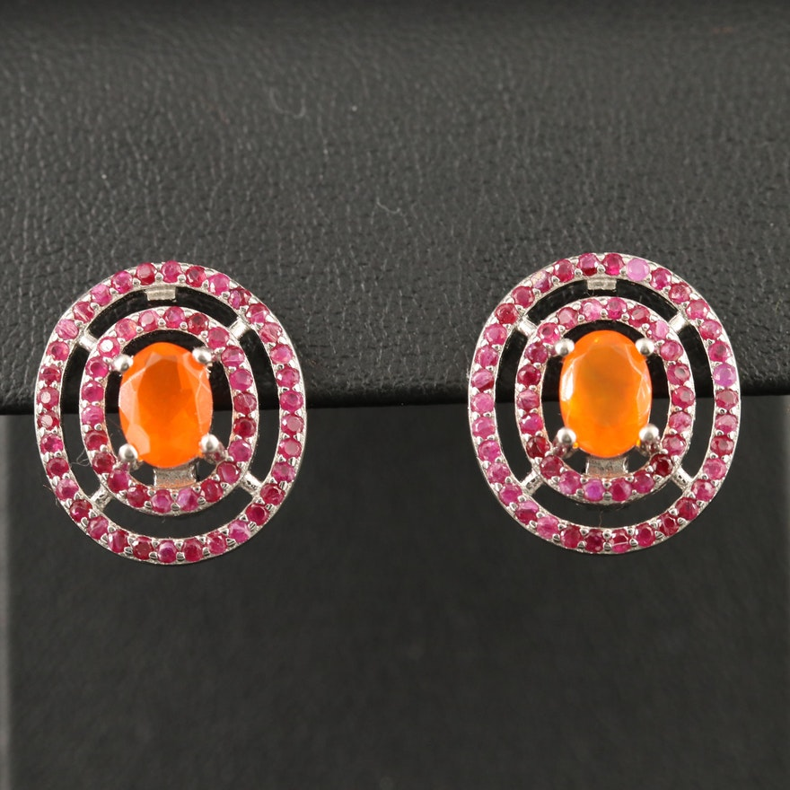Sterling Opal and Ruby Drop Earrings