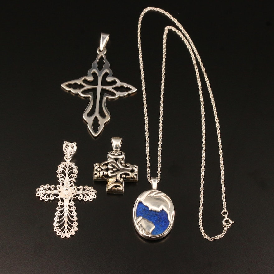 Sterling Silver Cross Pendants and Necklace with Lapis Lazuli  Featuring Kabana