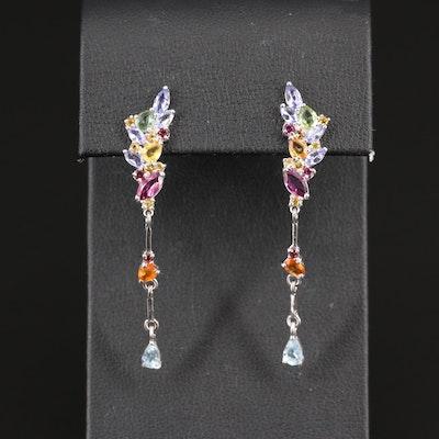Sterling Silver Tanzanite, Sapphire and Rhodolite Garnet Dangle Earrings