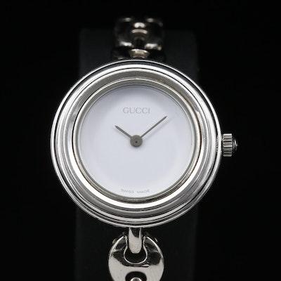 Gucci Silvertone White Dial Quartz Wristwatch