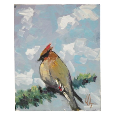 William Hawkins Oil Painting of a Bird, 21st Century