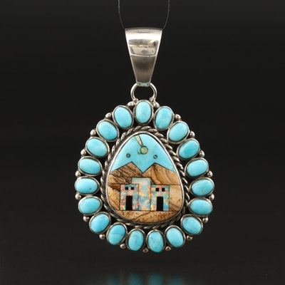 Western Sterling Landscape Inlay Pendant with Jasper, Opal and Turquoise