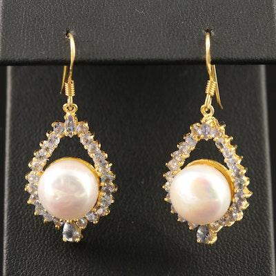 Sterling Silver Pearl and Tanzanite Dangle Earrings