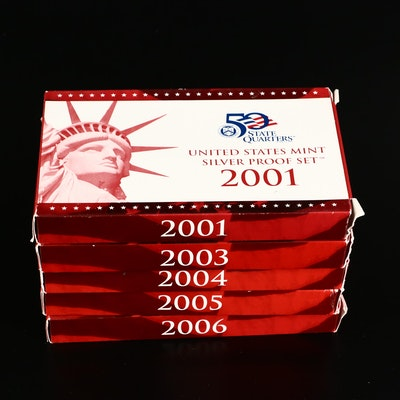 Five U.S. Mint Silver Proof Sets, 2001 to 2006