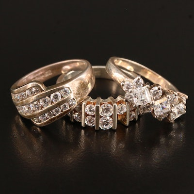 Assorted Sterling Silver Cubic Zirconia Rings