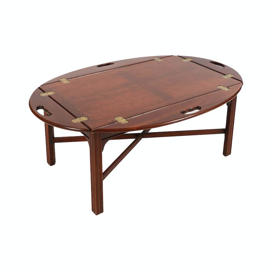 Chippendale Style Wood Butler's Tray Table, Late 20th Century