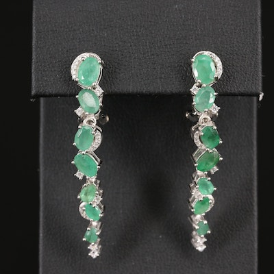 Sterling Silver Emerald and Cubic Zirconia Dangle Earrings