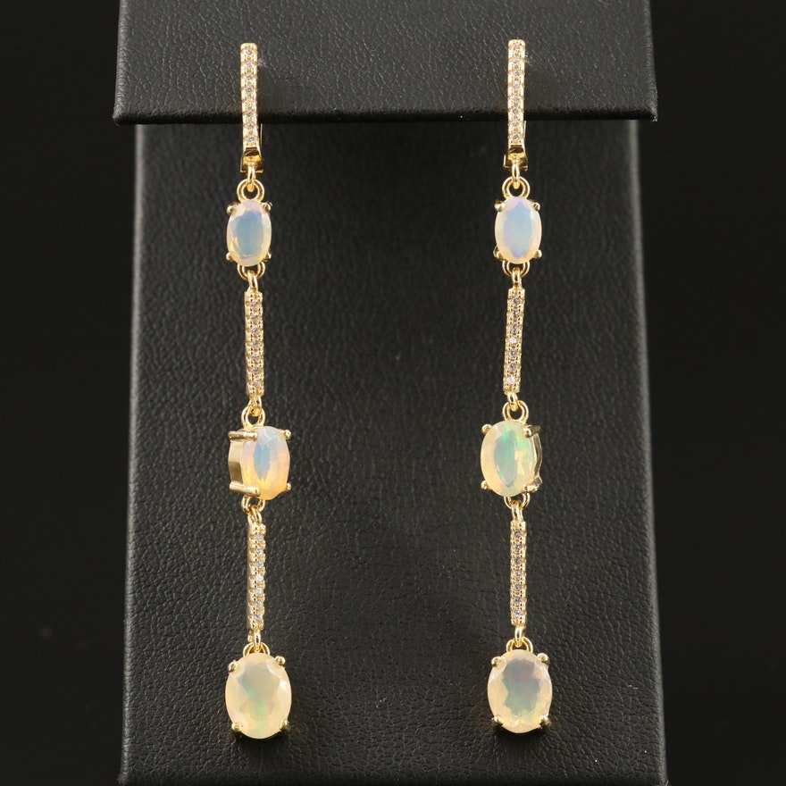 Sterling Silver Opal and Cubic Zirconia Drop Earrings