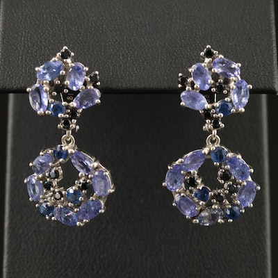 Sterling Silver Tanzanite, Kyanite and Black Spinel Dangle Earrings